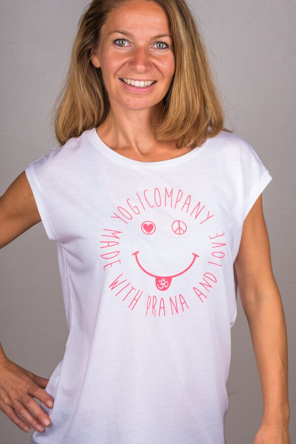 T-Shirt Sleeveless LOVE PEACE OM SMILE weiß/pink