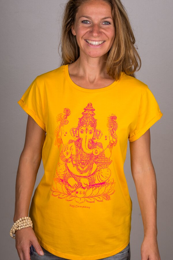T-Shirt GANESHA gelb/berry orange