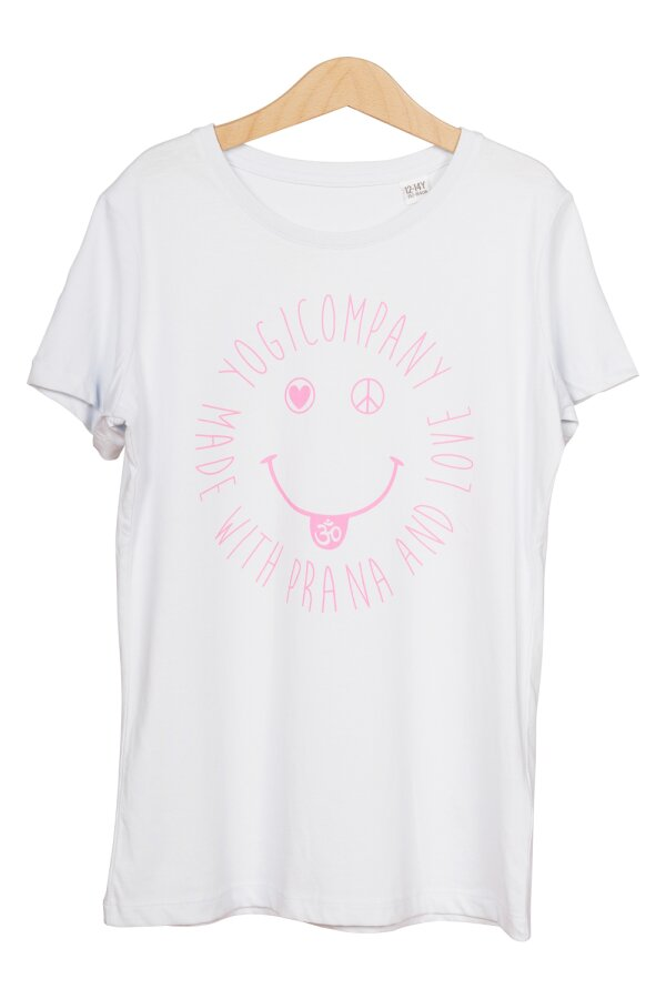 Kids T-Shirt LOVE PEACE OM SMILE hellblau/pink