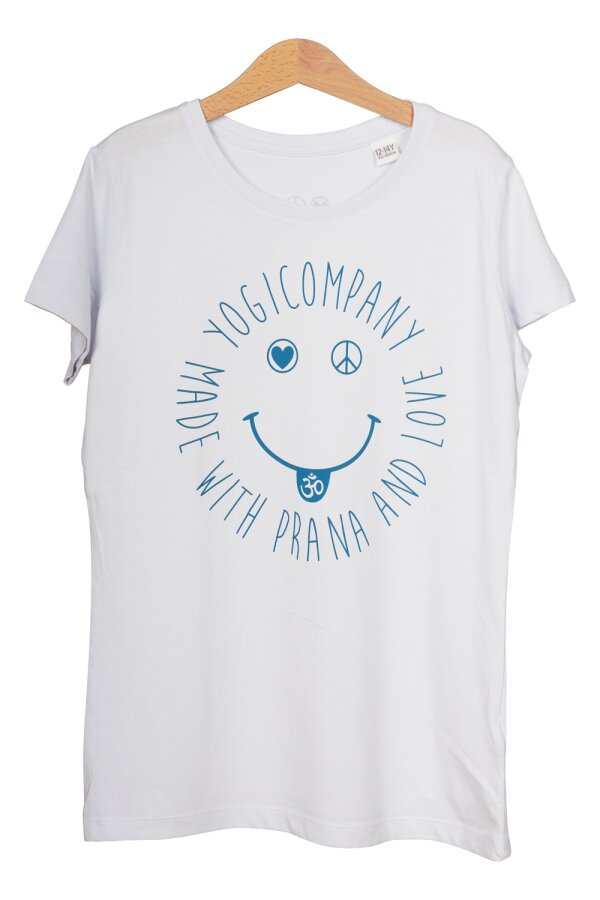 Kids T-Shirt LOVE PEACE OM SMILE hellblau/petrol