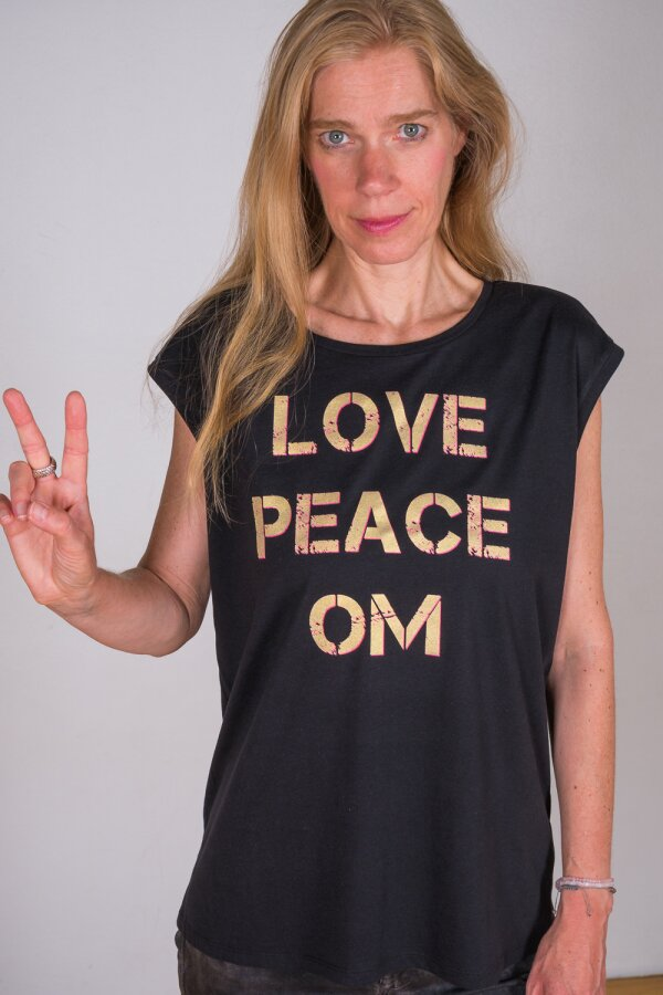 T-Shirt Sleeveless LOVE PEACE OM schwarz/gold-pink