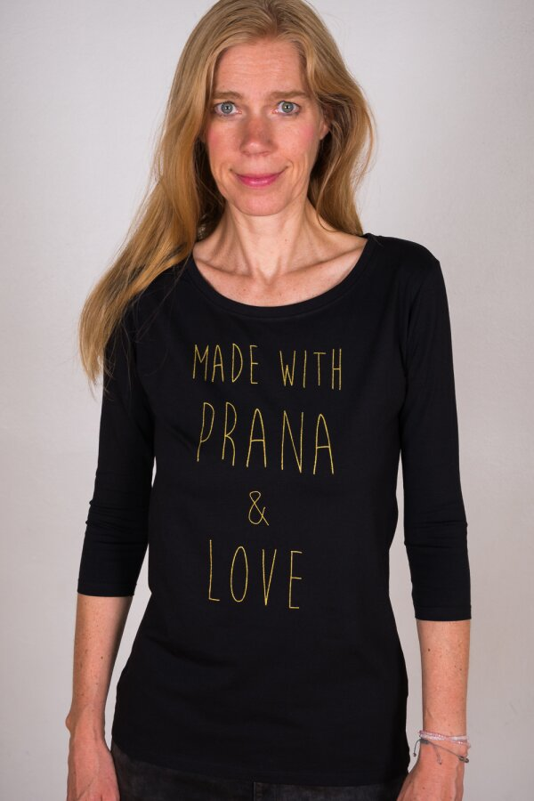 Longsleeve 3/4 MADE WITH PRANA & LOVE schwarz/gold